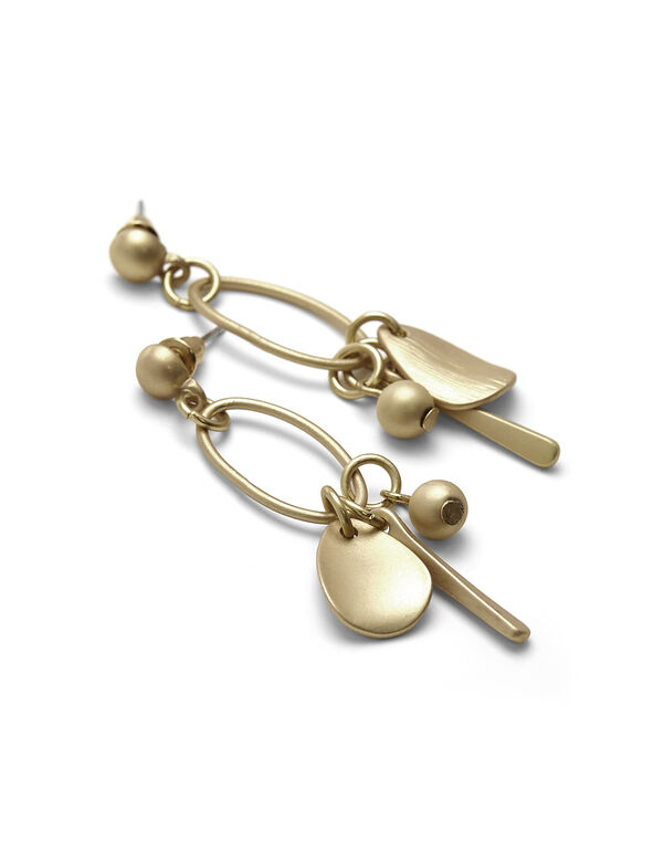 Matte Gold Charm Earring, Gold, hi-res