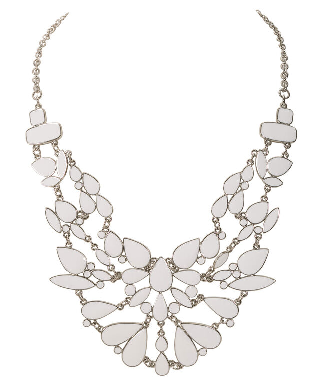 Epoxy Tears Statement Necklace, White/Rhodium, hi-res
