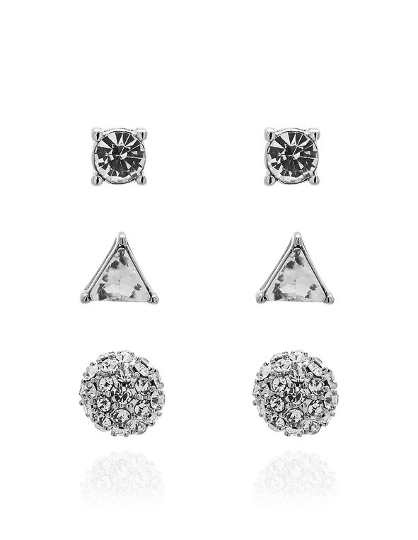 Silver Crystal Stud Earring Set, Silver, hi-res