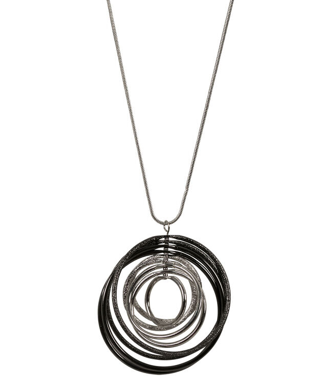 Mixed Metal Hoop Necklace, Rhodium/Hematite, hi-res
