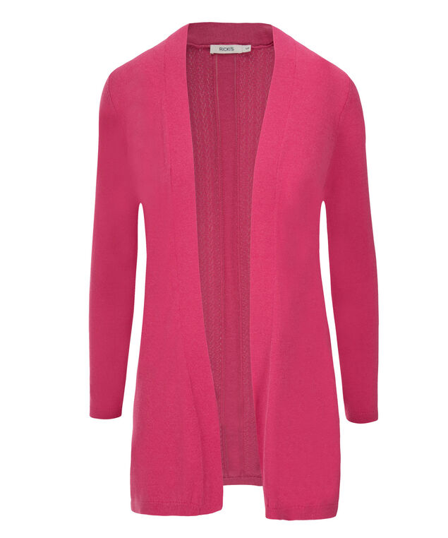 Pointelle Back Cardi, Vibrant Pink, hi-res
