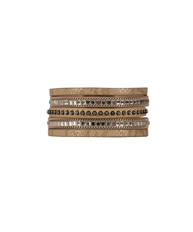 Wrap Magnetic Bracelet, Brown/Burnished Silver, hi-res