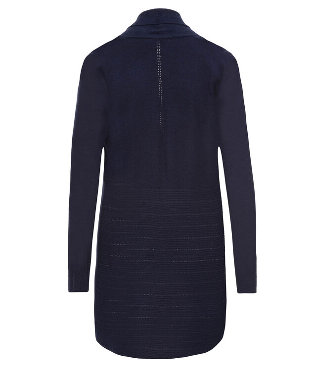 Rib Pointelle Tunic Cardi, Deep Blue, hi-res