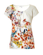 Ivory Floral Pleated Top, Ivory/Pink/Blue, hi-res