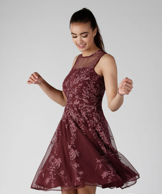 Illusion Neck Embroidered Dress, Burgundy, hi-res
