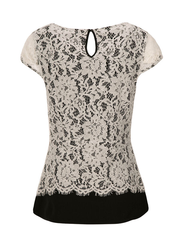 White Crochet Peplum, Black/White, hi-res