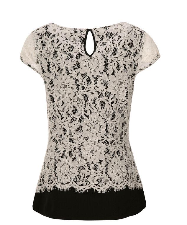 White Crochet Peplum, Black/White, hi-res