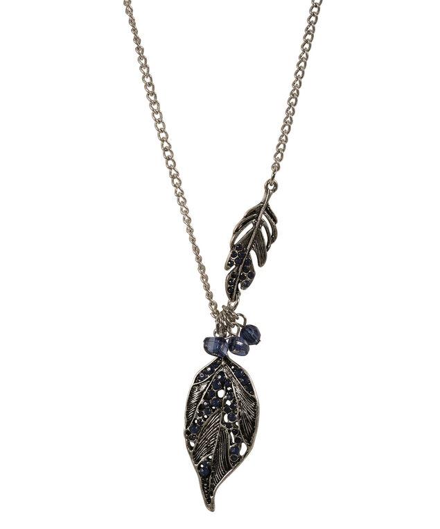 Leaf Pendant Necklace, Sapphire/Burnished Silver, hi-res