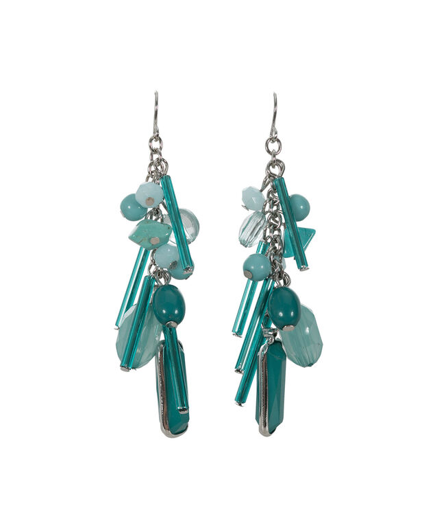 Drop Cluster Earring, Turquoise/Rhodium, hi-res