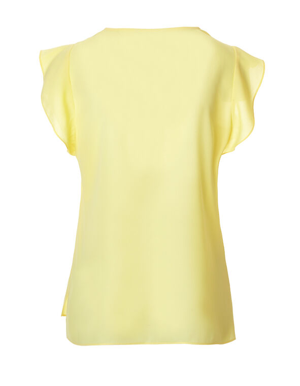 Yellow Flutter Sleeve Blouse, Yellow, hi-res