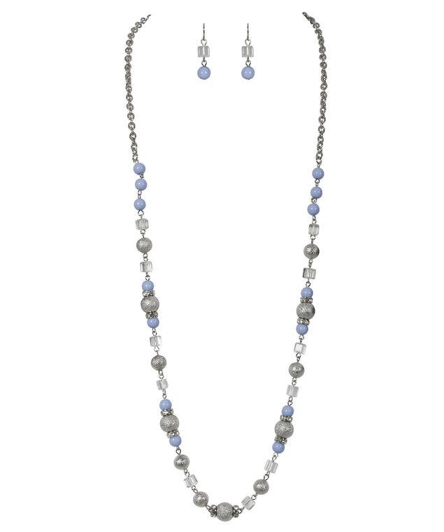 Stationed Bead Necklace Set, Light Blue/Rhodium, hi-res