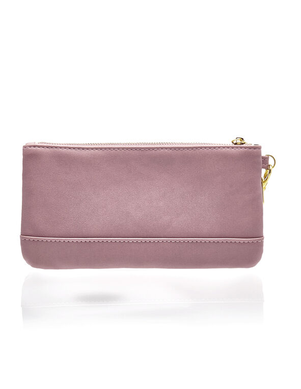 Rose Pink Leather Wristlet, Rose Pink, hi-res