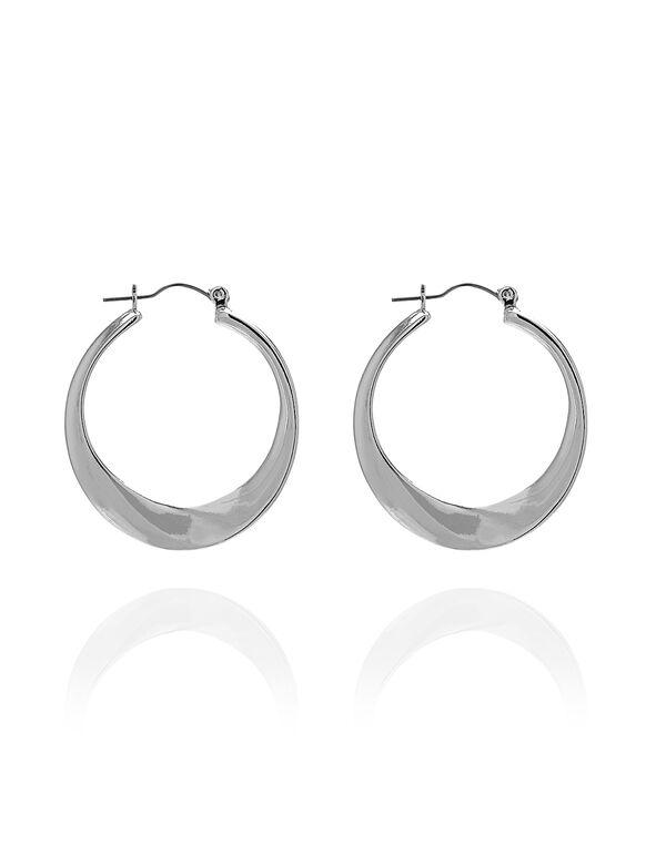 Silver Sculptural Hoop Earring, Silver, hi-res