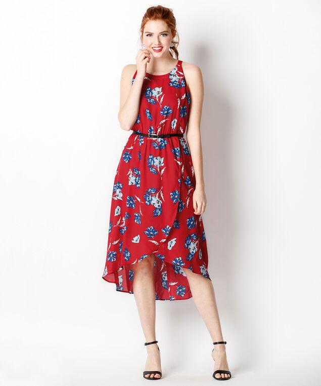 High Low Tulip Skirt Dress, Red/Blue Print, hi-res