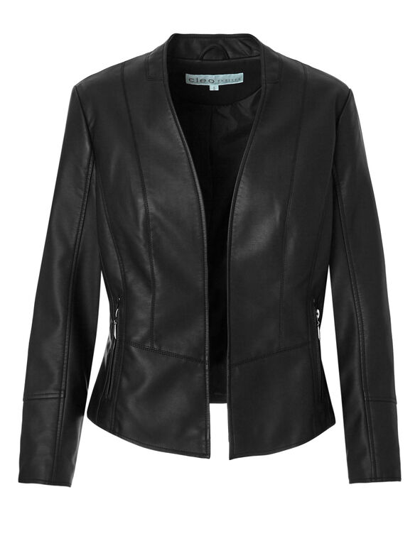 Black Faux Leather Jacket, Black/Hematite, hi-res