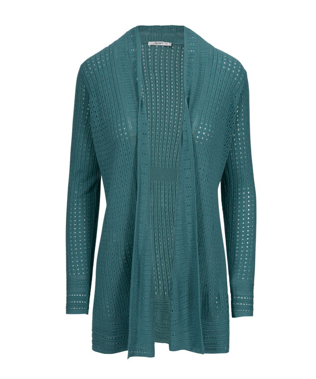 Classic Pointelle Cardigan, Mid Teal, hi-res