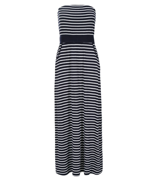 Bandeau Striped Maxi Dress, Navy/White, hi-res