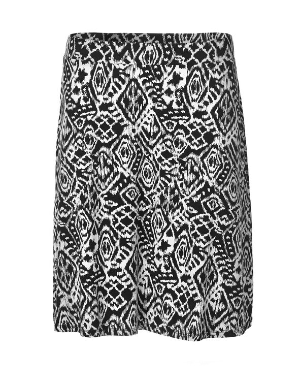 Black Print Flippy Skirt, Black/White, hi-res