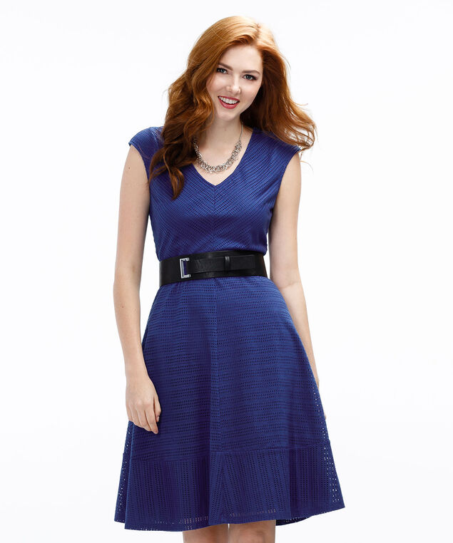 Perforated Fit & Flare Dress, Sapphire, hi-res