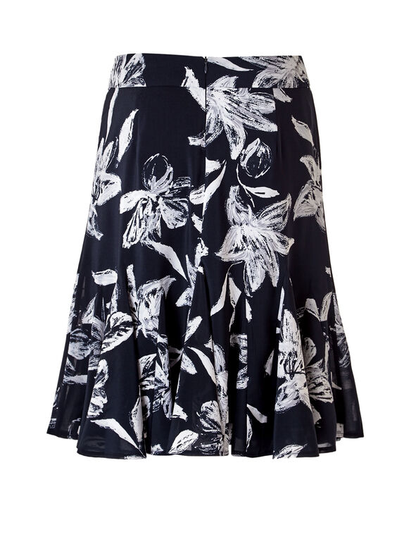 Navy Floral Flippy Skirt, Navy/Grey/White, hi-res