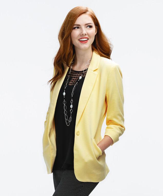 Knit Boyfriend Blazer, Yellow, hi-res