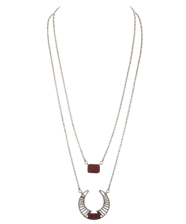 Layered Pendant Necklace, Deep Red/Burnished Silver, hi-res