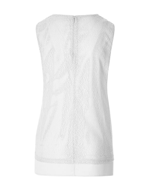 White Lace Sleeveless Top, White, hi-res