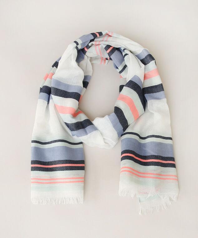 multi stripe oblong scarf, BLUE/WHITE, hi-res