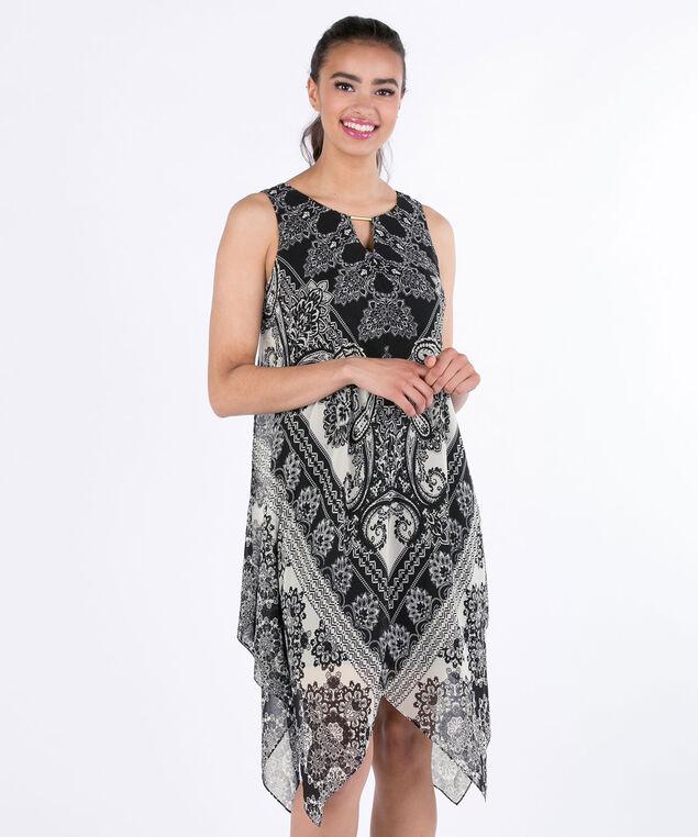 MSK Trapeze Paisley Dress, Black/White, hi-res