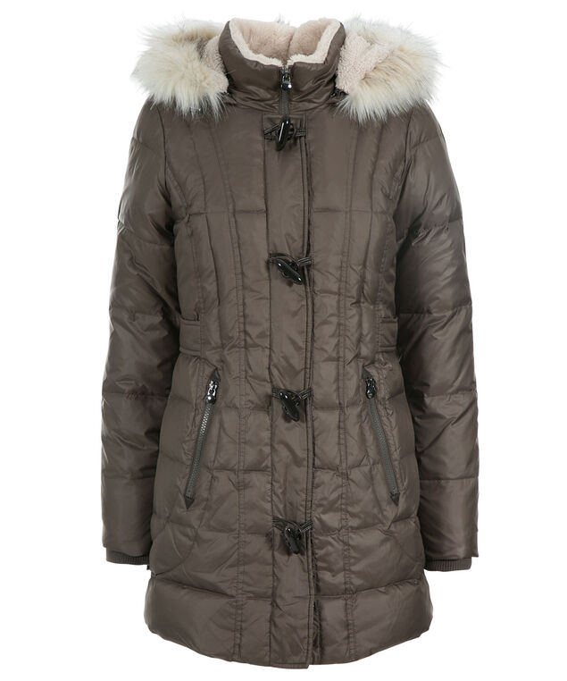 Toggle Puffer Coat, Taupe, hi-res