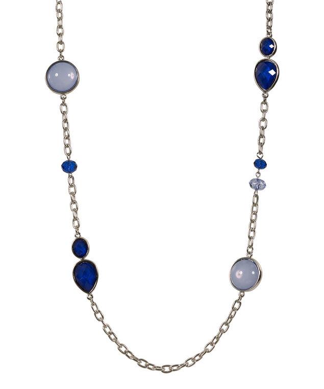 Faceted Teardrop Necklace, Blue/Rhodium, hi-res