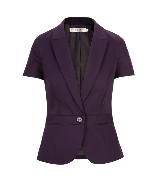 Cotton Sateen Blazer, Deep Purple, hi-res