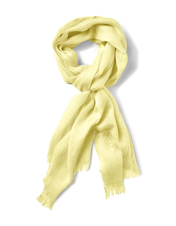 Yellow Waffle Knit Scarf, Yellow, hi-res