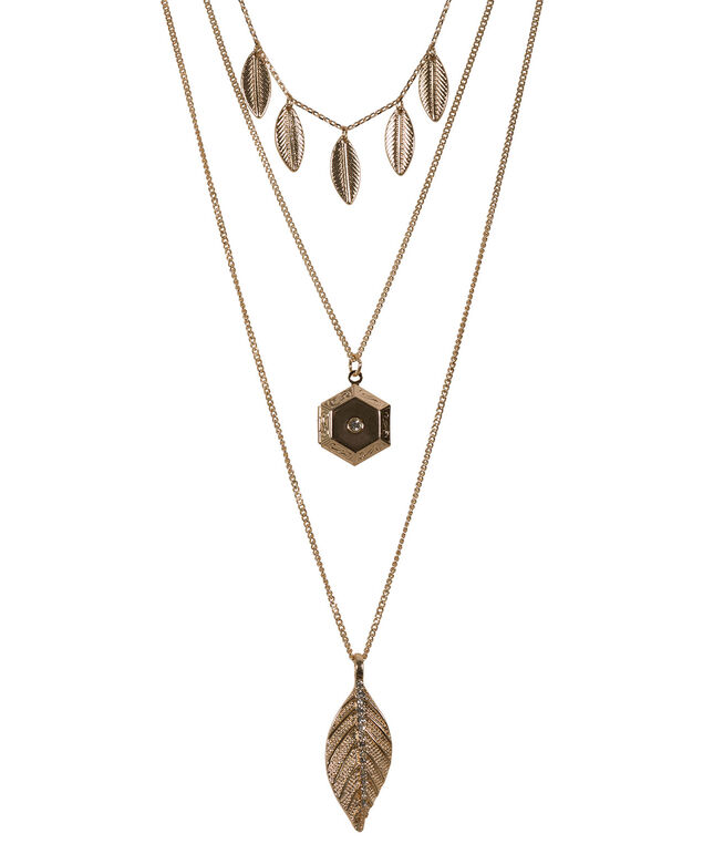Layered Feather & Hexagon Necklace, Antique Gold, hi-res