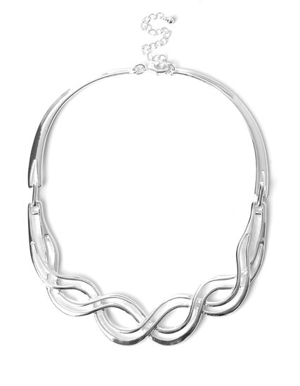Silver Wave Collar Necklace, Silver, hi-res