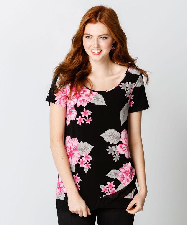 Floral Double Layer Hem, Vibrant Pink Print, hi-res