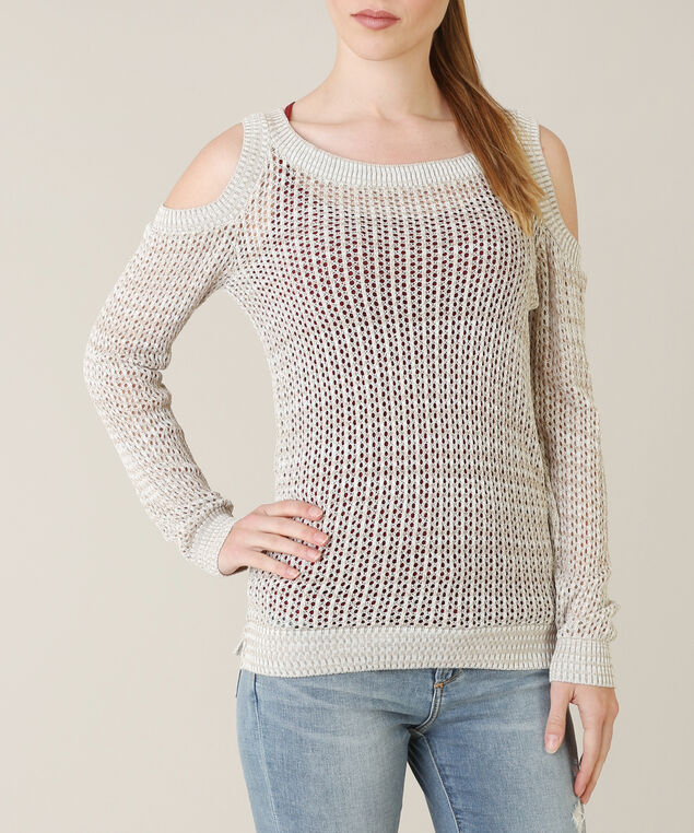 pointelle cold shoulder popover - wb, NATURAL, hi-res