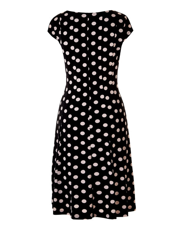 Polka Dot Fit and Flare Dress, Black/Pink Sand, hi-res
