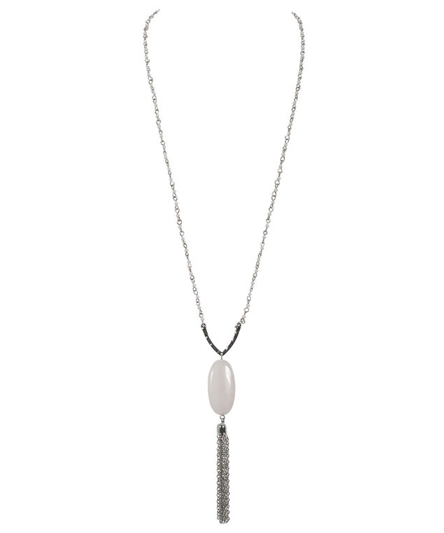 Stone & Tassel Necklace, White/Rhodium, hi-res