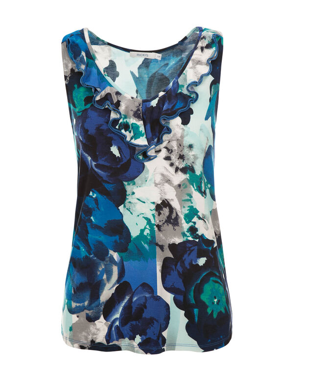 Floral Ruffle Front Tank, Green/Sapphire Print, hi-res