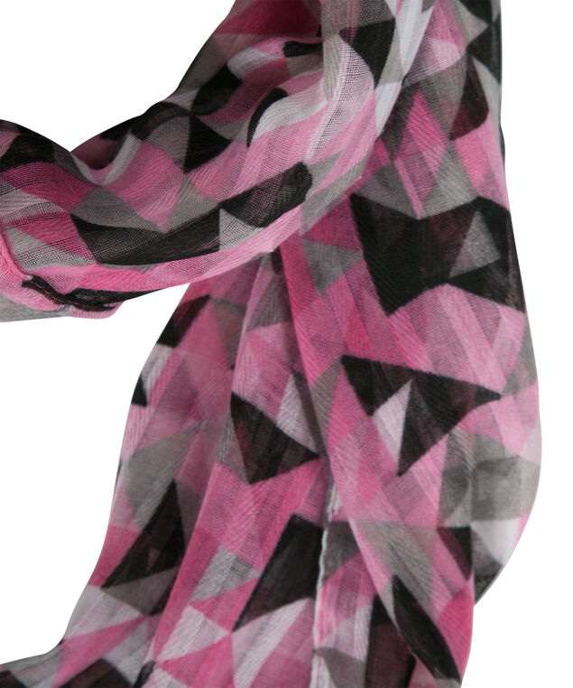 Kaleidoscope Print Eternity Scarf, Pink/Black/White, hi-res