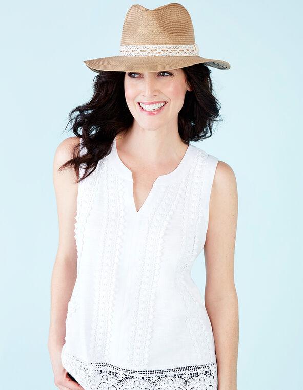 Natural Panama Lace Trim Hat, Natural, hi-res