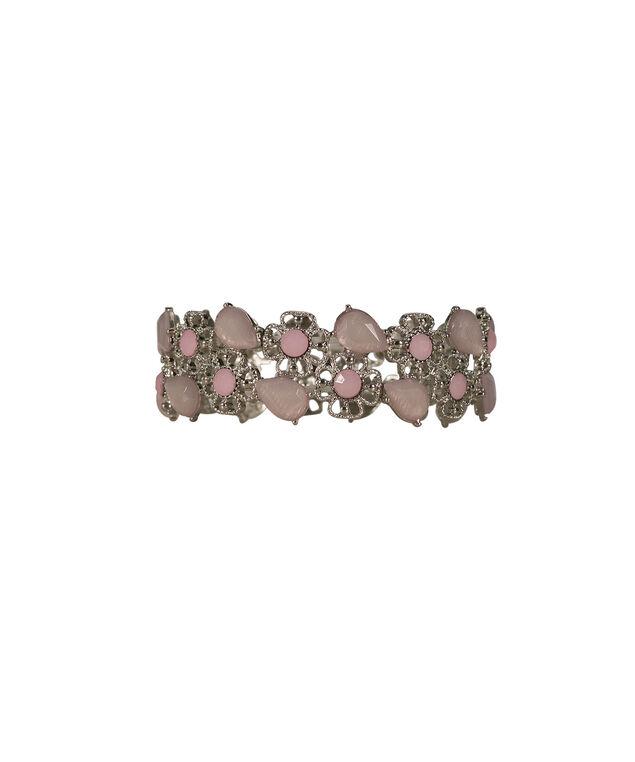 Pink Floral Stretch Bracelet, Misty Pink/Rhodium, hi-res