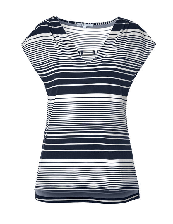 White Stripe Metal Trim Top, Navy/White, hi-res