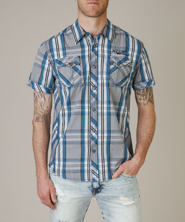 2 pocket button down - wb, BLUE PLAID, hi-res