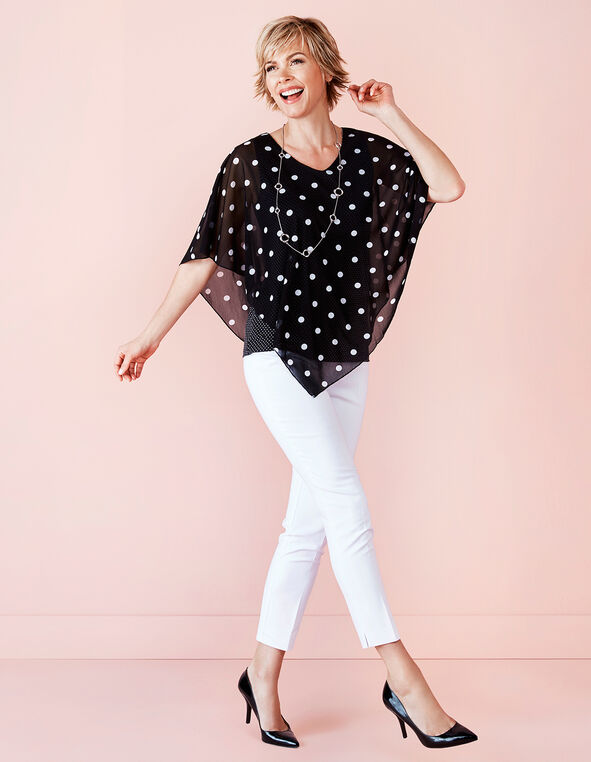 Polka Dot Caftan Top, Black/White, hi-res