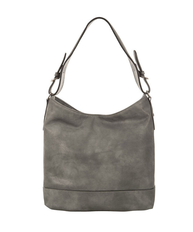 Buckle Strap Hobo Bag, Dark Grey, hi-res