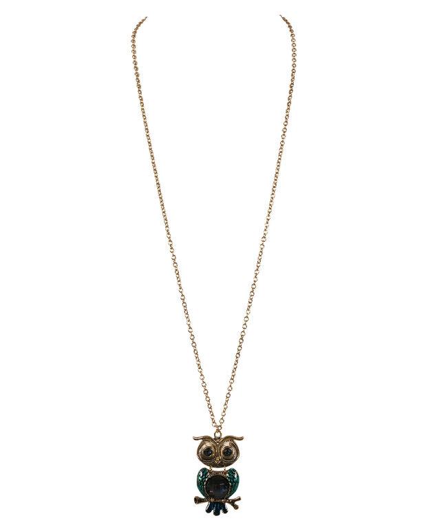 Painted Owl Pendant Necklace, Sapphire/Antique Gold, hi-res