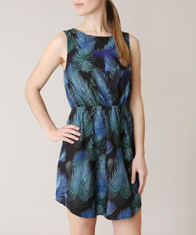 blue leaf print dress, BLUE PATN, hi-res