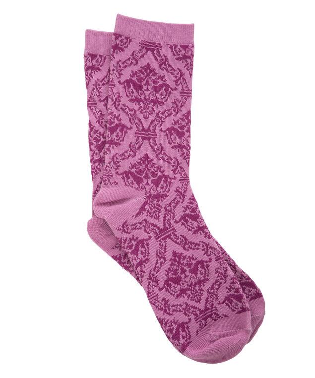Lace Print Socks, Pink/Fushia, hi-res